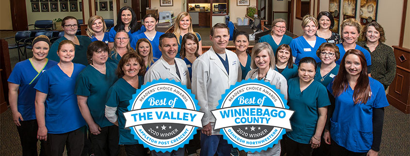 Valley Eye Associates staff and the Best of the Valley and Best of the Winnebago logos